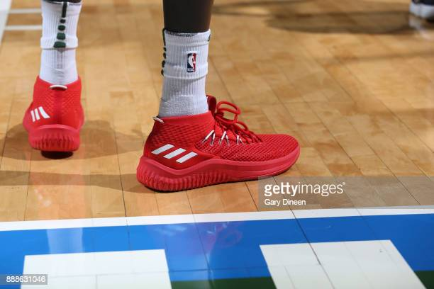 Sneakers of Thon Maker of the Milwaukee Bucks during game against the Dallas Mavericks on December 8 2017 at the Bradley Center in Milwaukee...