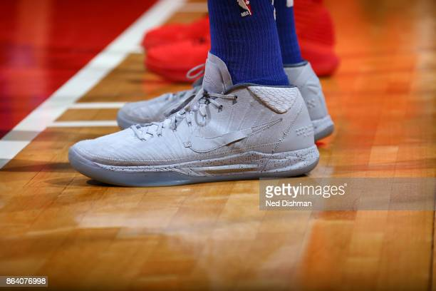 Sneakers of Tobias Harris of the Detroit Pistons during game against the Washington Wizards on October 20 2017 at Capital One Arena in Washington DC...