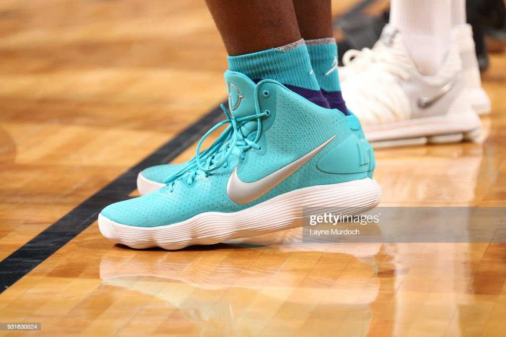 Sneakers of Treveon Graham #21 of the Charlotte Hornets during the game against the New Orleans Pelicans on March 13, 2018 at Smoothie King Center in New Orleans, Louisiana.
