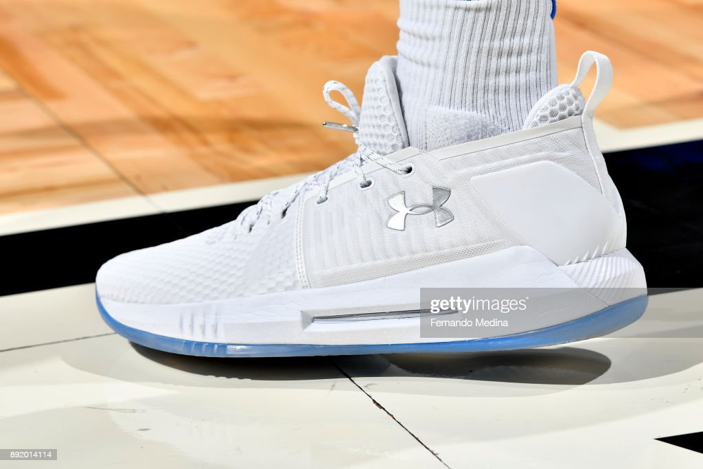 Sneakers of Wesley Iwundu #25 of the Orlando Magic during the game against the LA Clippers on December 13, 2017 at Amway Center in Orlando, Florida.