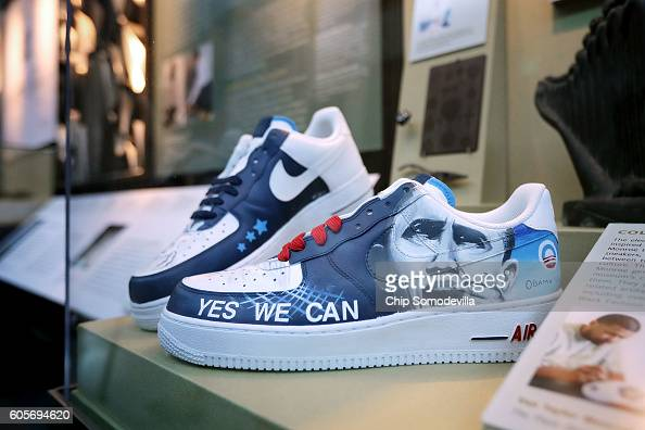 Sneakers with the handpainted images of President Barack Obama by artist Van Taylor Monroe are on display at the Smithsonian's National Museum of...