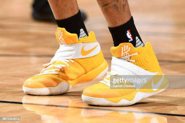 Sneakers worn by D'Angelo Russell of the Los Angeles Lakers during the game against the Denver Nuggets on March 13 2017 at the Pepsi Center in Denver...