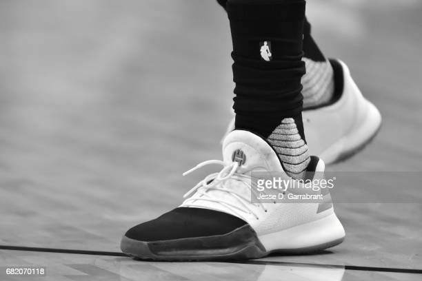 Sneakers worn by James Harden of the Houston Rockets during the game against the San Antonio Spurs during Game Six of the Western Conference...