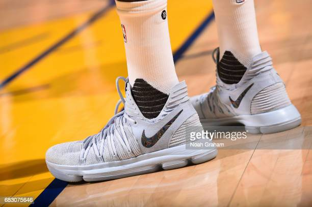 Sneakers worn by Kevin Durant of the Golden State Warriors during the game against the San Antonio Spurs during Game One of the Western Conference...