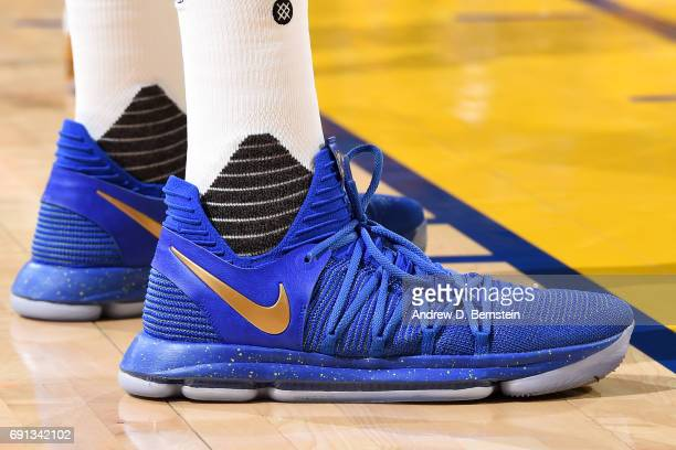 Sneakers worn by Kevin Durant of the Golden State Warriors during the game against the Cleveland Cavaliers during Game One of the 2017 NBA Finals at...