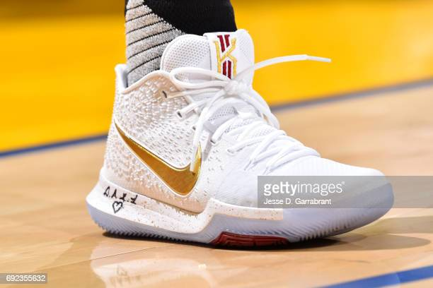 Sneakers worn by Kyrie Irving of the Cleveland Cavaliers during the game against the Golden State Warriors during Game Two of the 2017 NBA Finals at...