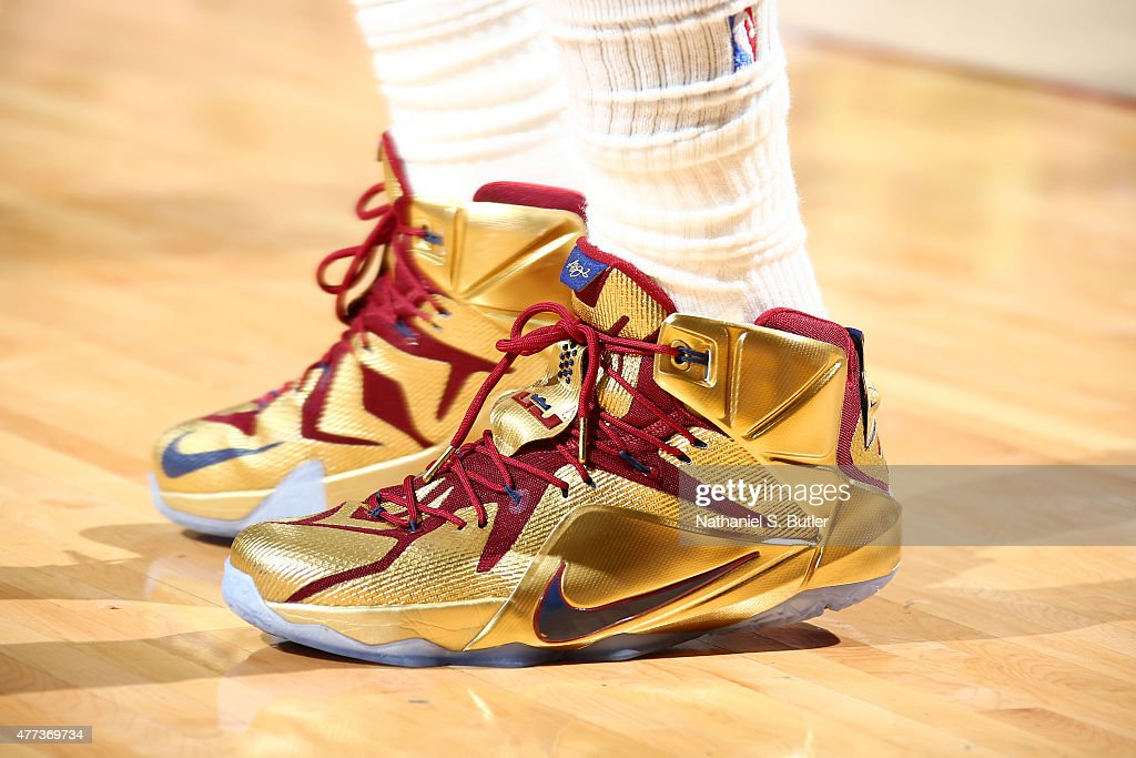 Sneakers worn by LeBron James of the Cleveland Cavaliers during Game Six of the 2015 NBA Finals at The Quicken Loans Arena on June 16 2015 in...