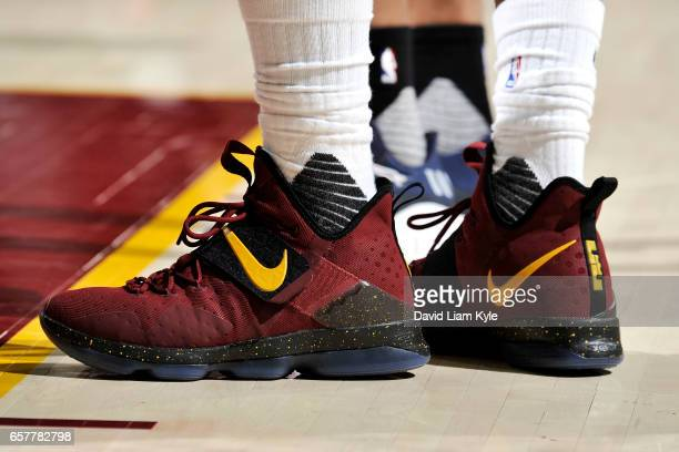 Sneakers worn by LeBron James of the Cleveland Cavaliers during the game against the Washington Wizards on March 25 2017 at Quicken Loans Arena in...