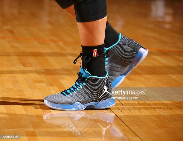 Sneakers worn by Maya Moore of the Minnesota Lynx during a game against the New York Liberty on August 28 2015 at Madison Square Garden New York City...