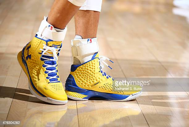 Sneakers worn by Stephen Curry of the Golden State Warriors during Game Two of the 2015 NBA Finals on June 7 2015 at Oracle Arena in Oakland...