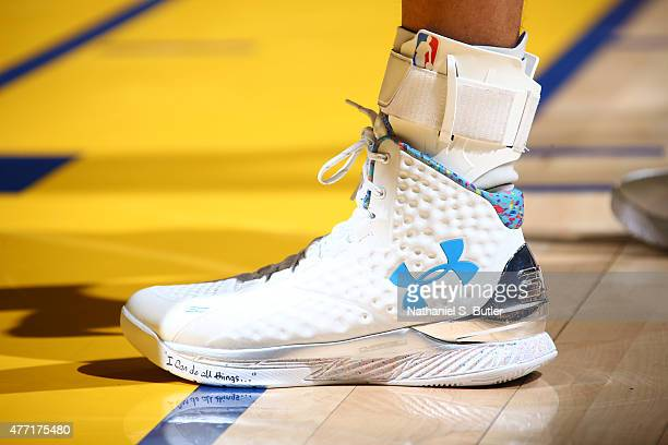 Sneakers worn by Stephen Curry of the Golden State Warriors during Game Five of the 2015 NBA Finals on June 14 2015 at Oracle Arena in Oakland...