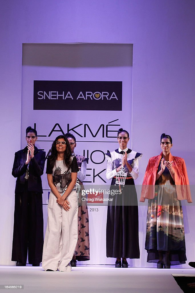 Sneha Arora on the runway during day three of Lakme Fashion Week Summer/Resort 2013 on March 24, 2013 at Grand Hyatt in Mumbai, India.