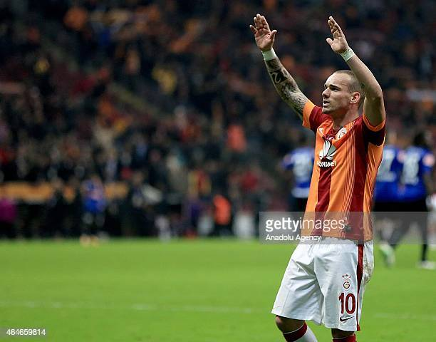 Sneijder of Galatasaray celebrates his score during the Turkish Spor Toto Super League soccer match between Galatasaray and SAI Kayseri at Turk...