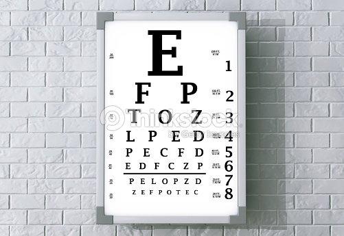 Snellen Eye Chart Test Box 3d Rendering Stock Foto Thinkstock