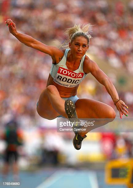 Snezana Rodic of Slovenia competes in the Women's Triple Jump final during Day Six of the 14th IAAF World Athletics Championships Moscow 2013 at...