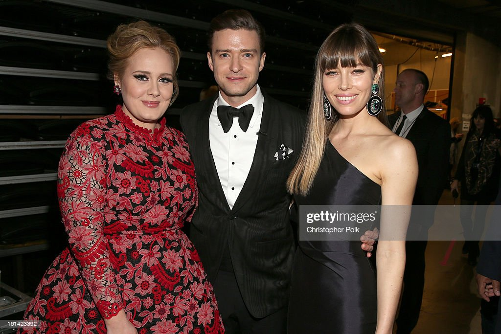 Snger Adele, singer Justin Timberlake and actress Jessica Biel appear onstage during the 55th Annual GRAMMY Awards at STAPLES Center on February 10, 2013 in Los Angeles, California.