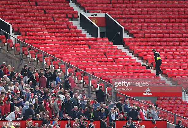 A sniffer dog patrols the stands prior to the match being abandoned with fans evacuated from the ground prior to the Barclays Premier League match...