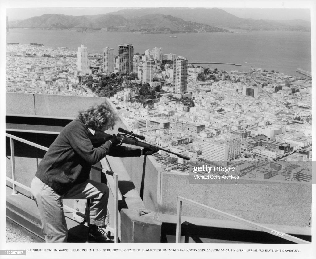 Sniper Andrew Robinson overlooking San Francisco in a scene from the film 'Dirty Harry', 1971.