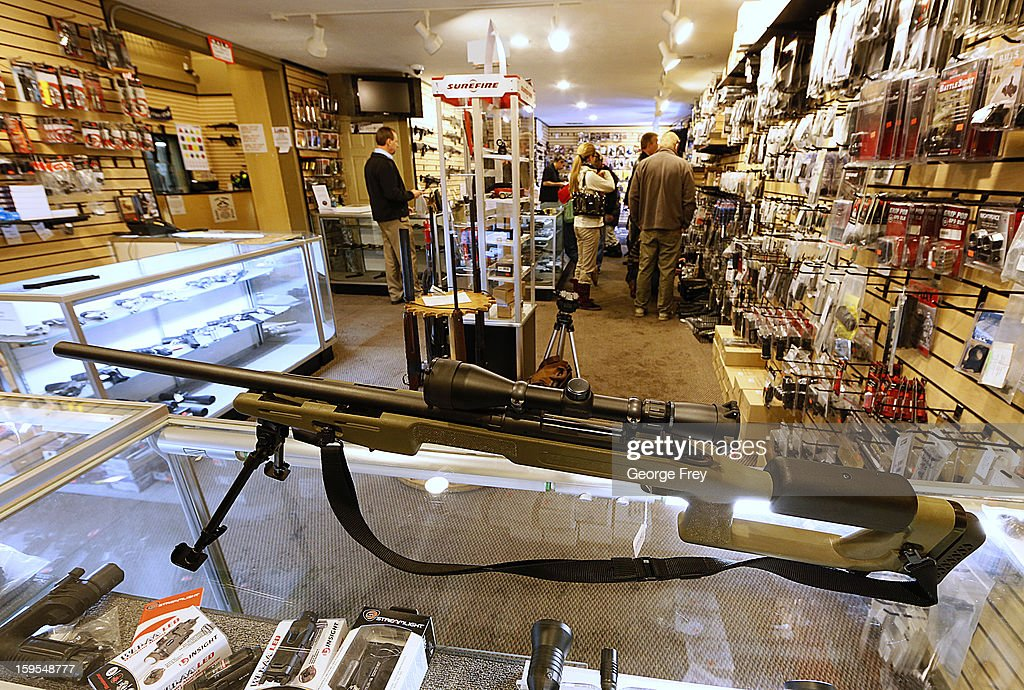 A sniper rifle is on display to purchase at the 'Get Some Guns & Ammo' shooting range on January 15, 2013 in Salt Lake City, Utah. Lawmakers are calling for tougher gun legislation after recent mass shootings at an Aurora, Colorado movie theater and at Sandy Hook Elementary School in Newtown, Connecticut.