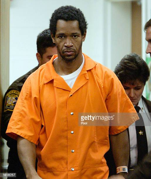 Sniper suspect John Allen Muhammad arrives in Prince William Circuit Court to appear before Judge Leroy F Millette for a hearing to appoint council...