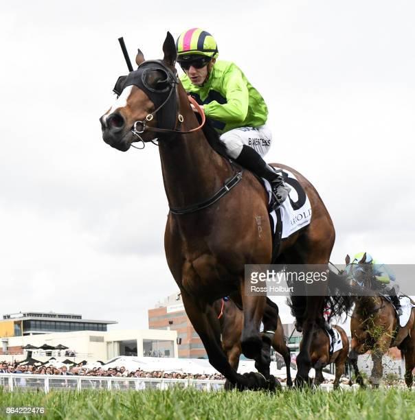 Snitty Kitty ridden by Beau Mertens wins the Harrolds Caulfield Sprint at Caulfield Racecourse on October 21 2017 in Caulfield Australia