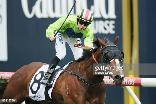 Snitty Kitty ridden by Beau Mertens wins the Harrolds Caulfield Sprint during Melbourne Racing at Caulfield Racecourse on October 21 2017 in...