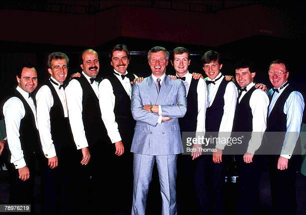 Snooker 7th October 1988 Snookers Matchroom team with Manager Barry Hearn Tony Meo Terry Griffiths Willie Thorne Cliff Thorburn Barry Hearn Steve...