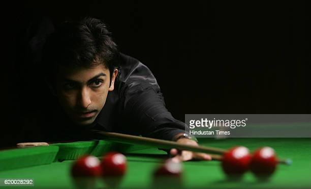 Snooker Ace cueist Pankaj Advani takes aim during his final match against Yasin Merchant during CCI Platinum Jubilee Snooker Tournament at CCI on...
