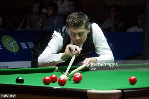 Snooker player Ryan Day of Wales hits a ball during qual round against snooker player Xu Si of China at Bank of Communications 2014 World Snooker...