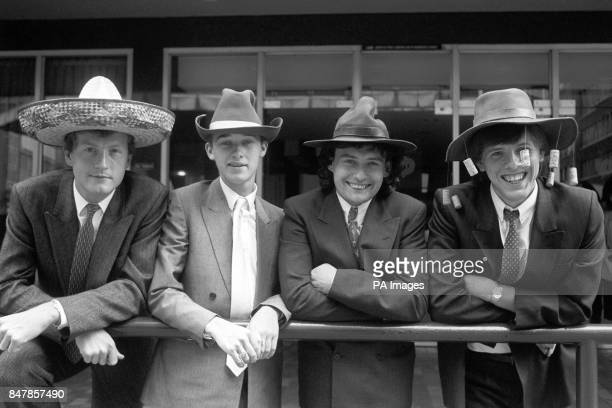 Snooker stars Steve Davis Stephen Hendry Jimmy White and Neal Foulds wearing hats from round the world series which spans five continents Eight...