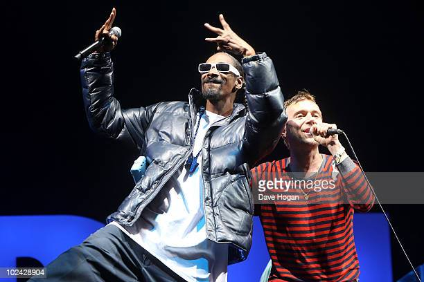 Snoop Dog performs with Damon Albarn of Gorillaz on the Pyramid Stage at Glastonbury Festival 2010 on June 25 2010 in Glastonbury England