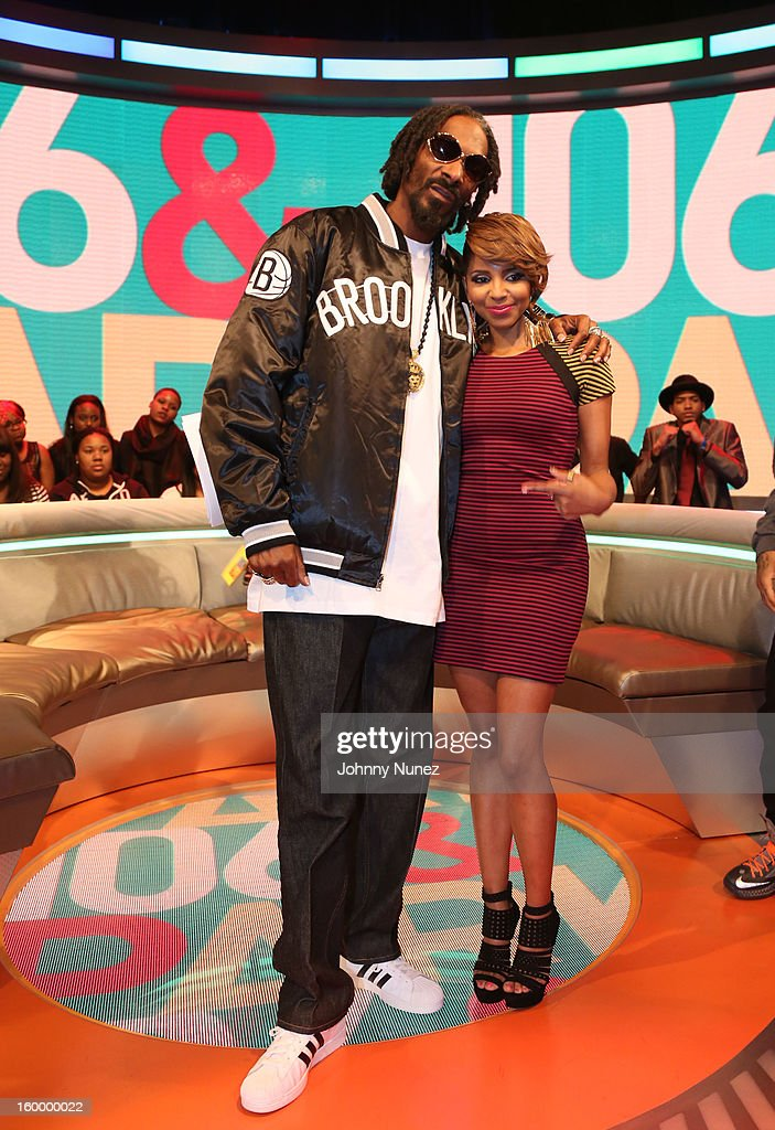 <a gi-track='captionPersonalityLinkClicked' href=/galleries/search?phrase=Snoop+Dogg&family=editorial&specificpeople=175943 ng-click='$event.stopPropagation()'>Snoop Dogg</a>, aka Snoop Lion, and host <a gi-track='captionPersonalityLinkClicked' href=/galleries/search?phrase=Miss+Mykie&family=editorial&specificpeople=9784725 ng-click='$event.stopPropagation()'>Miss Mykie</a> visit at 106 & Park Studio on January 24, 2013 in New York City.