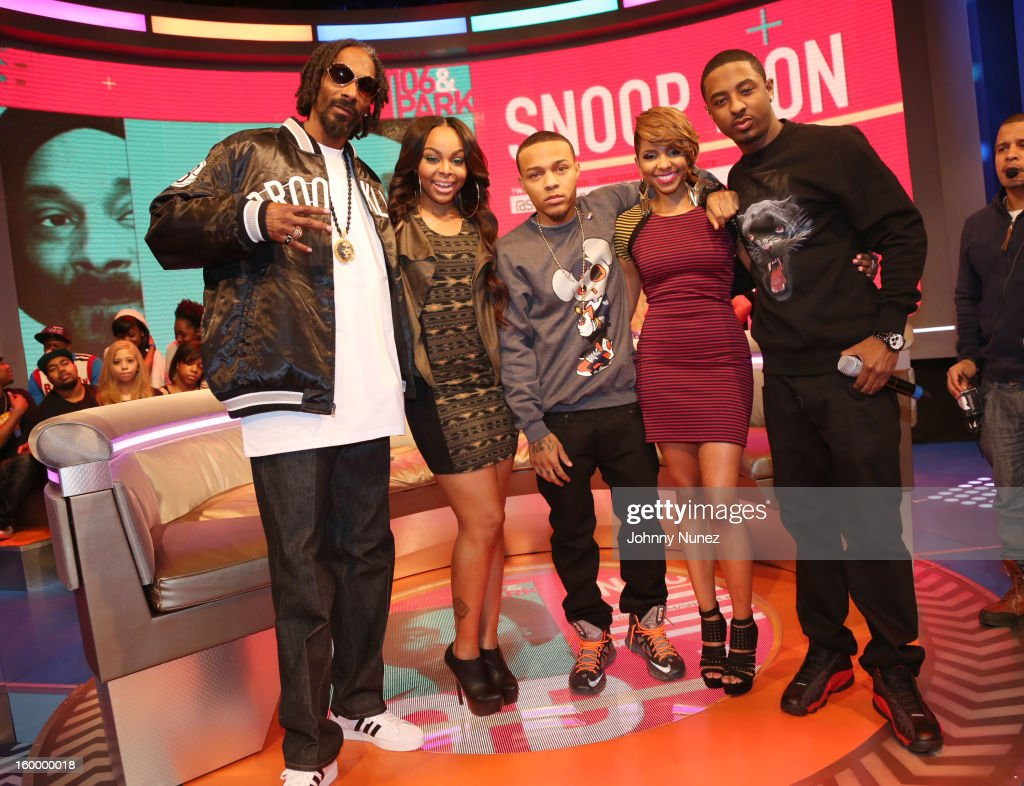 Snoop Dogg, aka Snoop Lion,, hosts Kimberly 'Paigion' Walker, Bow Wow, Miss Mykie and Shorty Da Prince visit at 106 & Park Studio on January 24, 2013 in New York City.