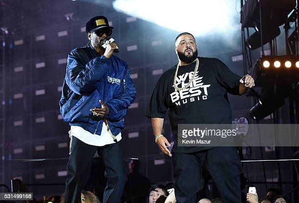 Snoop Dogg and DJ Khaled perform onstage during 'The Formation World Tour' at the Rose Bowl on May 14 2016 in Pasadena California
