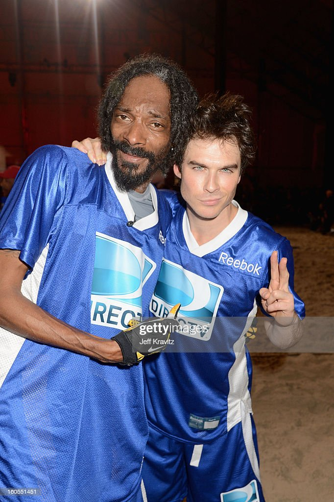 Snoop Dogg (L) and Ian Somerhalder attend DIRECTV'S 7th Annual Celebrity Beach Bowl at DTV SuperFan Stadium at Mardi Gras World on February 2, 2013 in New Orleans, Louisiana.
