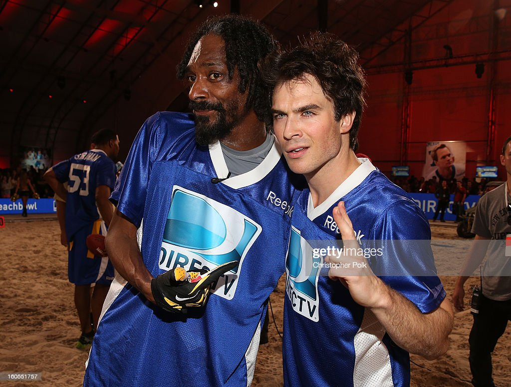 Snoop Dogg (L) and Ian Somerhalder attend DIRECTV'S Seventh Annual Celebrity Beach Bowl at DTV SuperFan Stadium at Mardi Gras World on February 2, 2013 in New Orleans, Louisiana.