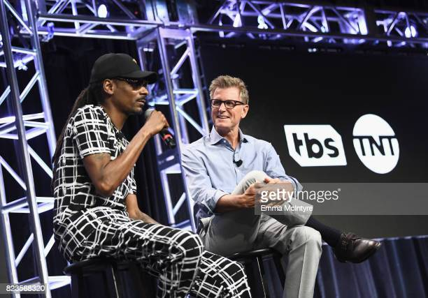 Snoop Dogg and President TNT TBS / Chief Creative Officer Turner Entertainment Kevin Reilly speak onstage during the TCA Turner Summer Press Tour...