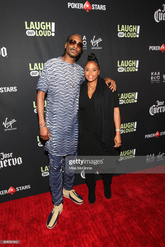 Snoop Dogg and Shante Broadus attend Launch Of Laugh Out Loud hosted by Kevin Hart And Jon Feltheimer on August 03, 2017 in Los Angeles, California.