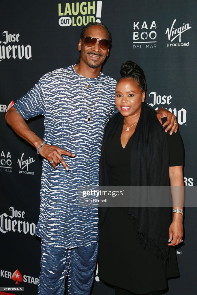 Snoop Dogg and Shante Taylor attends the Kevin Hart and Jon Feltheimer Host Launch Of Laugh Out Loud at Private Residence on August 3, 2017 in Beverly Hills, California.