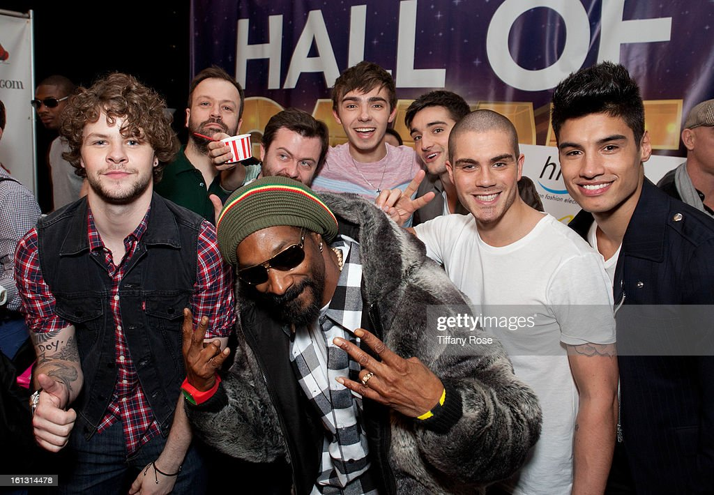 Snoop Dogg and The Wanted attend the GBK & Cartoon Network's Official Backstage Thank You Lounge at Barker Hangar on February 9, 2013 in Santa Monica, California.