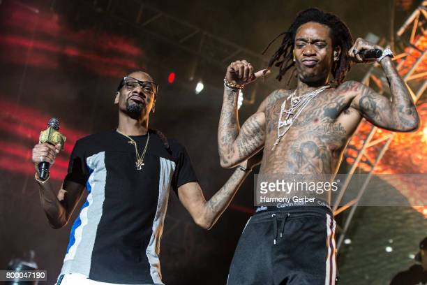 Snoop Dogg and Wiz Khalifa perform at the 2017 BET Experience on June 24 2017 in Los Angeles California