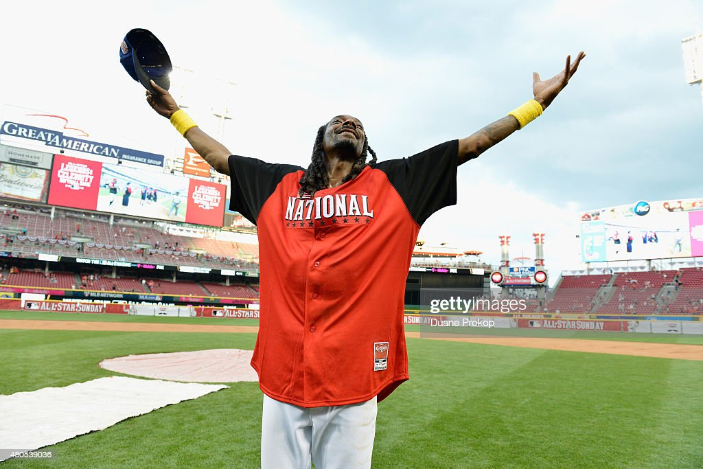 Snoop Dogg during the 2015 MLB All-Star Legends and Celebrity Softball Game at Great American Ball Park on July 12, 2015 in Cincinnati, Ohio.