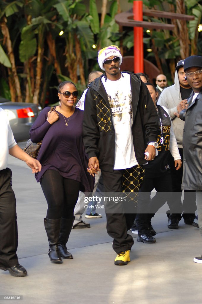 Snoop Dogg is seen at Staples Center on December 25, 2009 in Los Angeles, California.