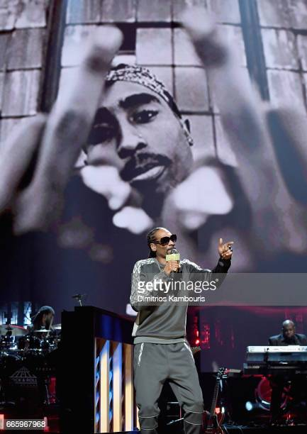 Snoop Dogg performs 2017 Inductee Tupac Shakur onstage at the 32nd Annual Rock Roll Hall Of Fame Induction Ceremony at Barclays Center on April 7...