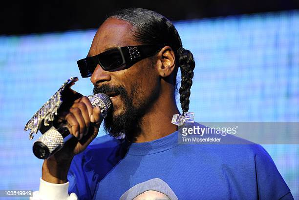 Snoop Dogg performs as part of Rock the Bells 2010 at Shoreline Amphitheatre on August 22 2010 in Mountain View California