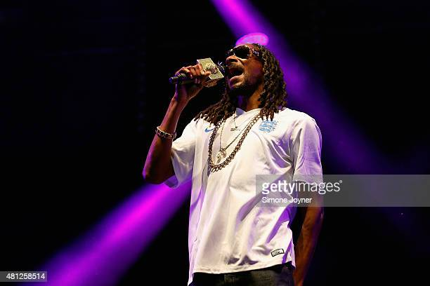 Snoop Dogg performs live on the Main Stage during day two of Lovebox Festival 2015 at Victoria Park on July 18 2015 in London England