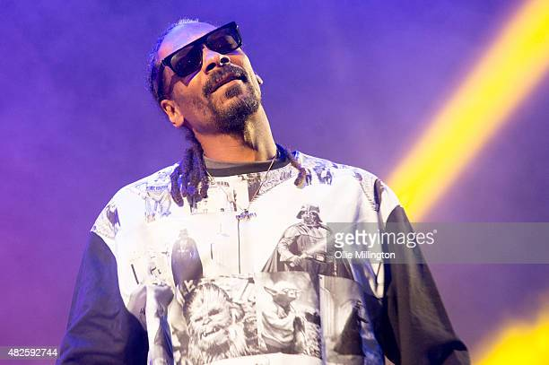 Snoop Dogg performs onstage during his headline show at the end of day 1 of Y Not Festival at Pikehall on July 31 2015 in Matlock England