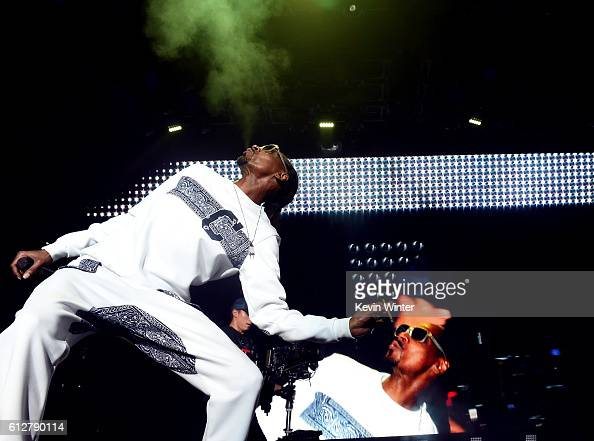 Snoop Dogg performs onstage during the Bad Boy Family Reunion Tour at The Forum on October 4 2016 in Inglewood California