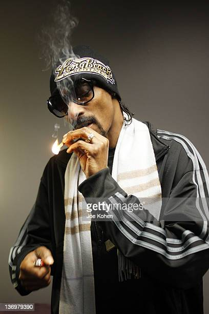 Snoop Dogg poses for a photo backstage at Nokia Theatre LA Live on January 13 2012 in Los Angeles California