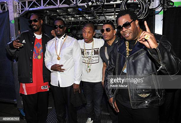 Snoop Dogg Sean Combs Pharrell Williams Nelly and Busta Rhymes attend the 63rd NBA AllStar Game 2014 at the Smoothie King Center on February 16 2014...